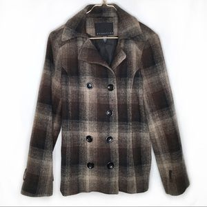 ATTENTION Brown/Black Plaid Pea Coat Womens Large